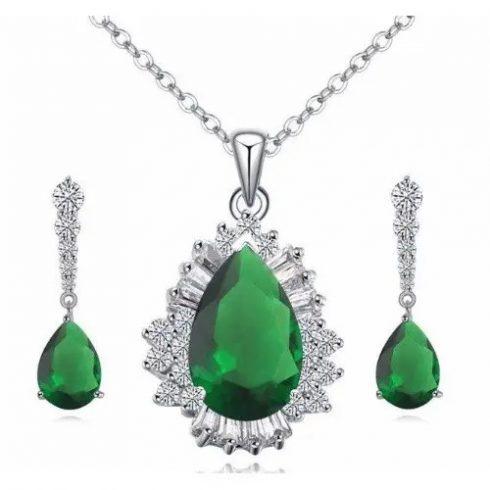 Csepp alakú ékszer szett, Zöld