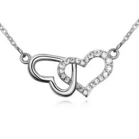 Egymásba fonódó dupla szív nyaklánc, Ródium