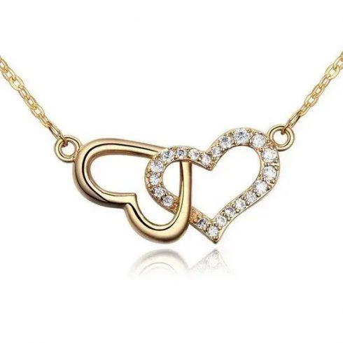 Egymásba fonódó dupla szív nyaklánc, Pezsgő arany
