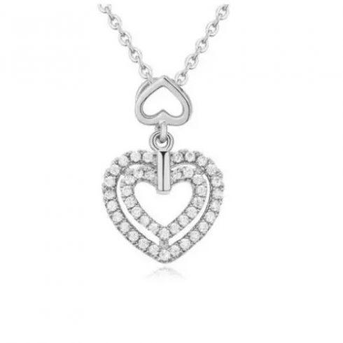 Dupla szív alakú nyaklánc, Kristály