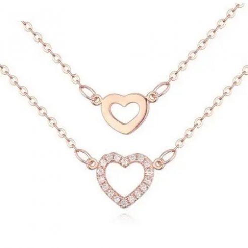 Dupla láncos szív medálos nyaklánc, Rose Gold