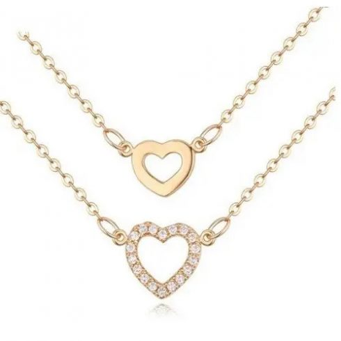 Dupla láncos szív medálos nyaklánc, Pezsgő arany