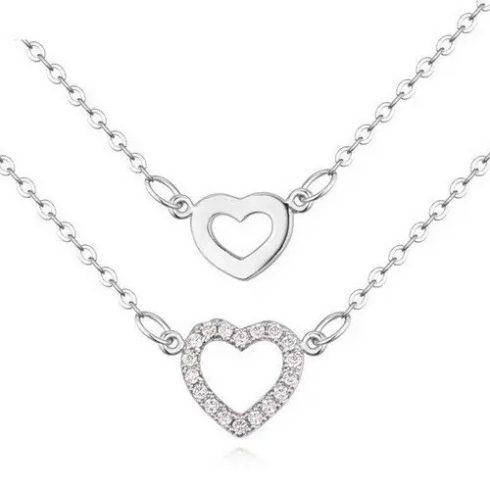 Dupla láncos szív medálos nyaklánc, Ródium