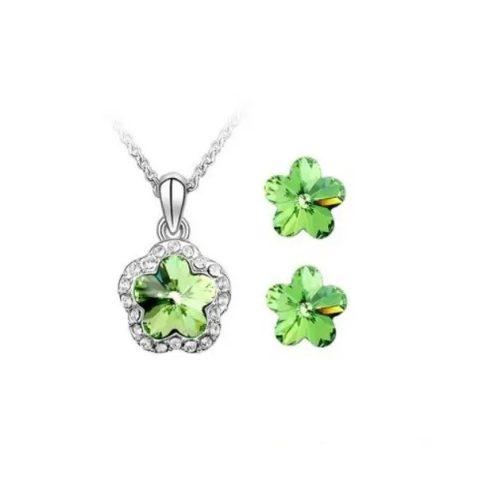 Szilva virág ékszer szett, Peridot zöld, Swarovski köves