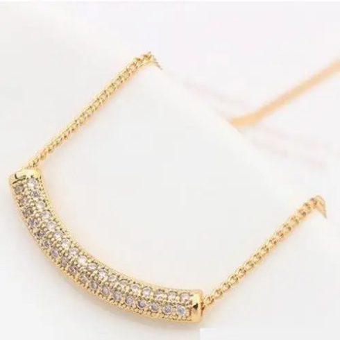 Íves henger alakú nyaklánc, Pezsgő arany