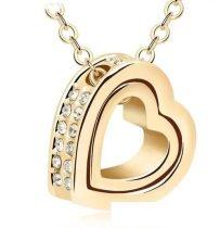 Dupla szív medálos nyaklánc, 18K Arany Plated