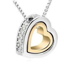 Dupla szív medálos nyaklánc, 18K Arany and Rhodium