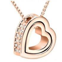Dupla szív medálos nyaklánc, Rose Gold