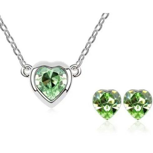 Szív formájú ékszer szett, Peridot zöld, Swarovski köves