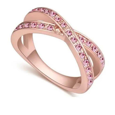 Egyedi karika gyűrű, Világos Rózsaszín, 6,5
