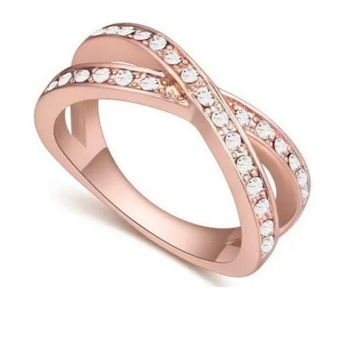 Egyedi karika gyűrű, Kristály, 8,5