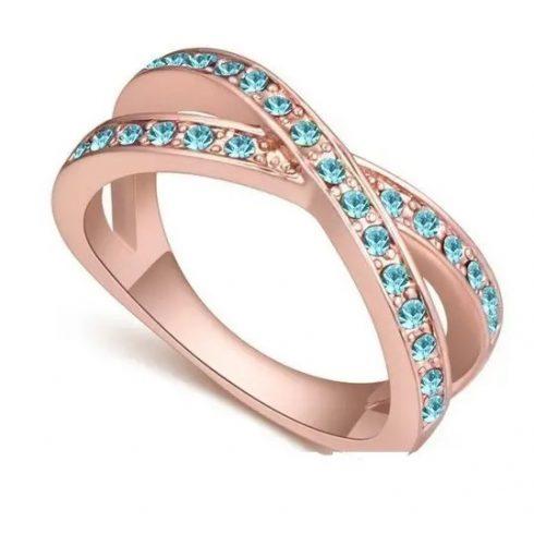Egyedi karika gyűrű, Aquamarine, 6,5