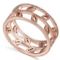 Levél mintás cirkónia gyűrű, Pezsgő Arany, 7,5