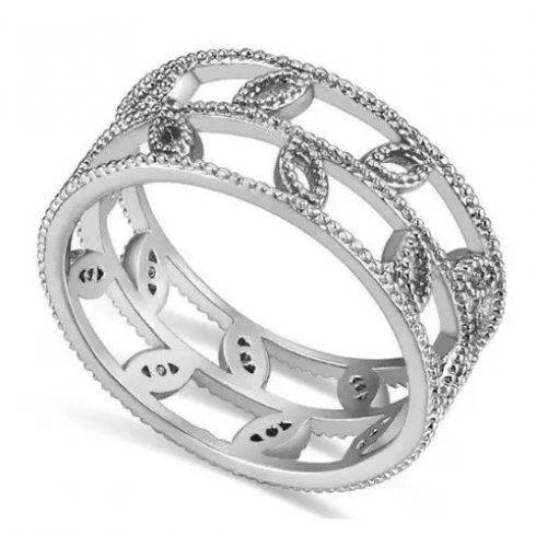 Levél mintás cirkónia gyűrű, Ródium, 8,5