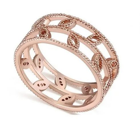 Levél mintás cirkónia gyűrű, Pezsgő Arany, 6,5