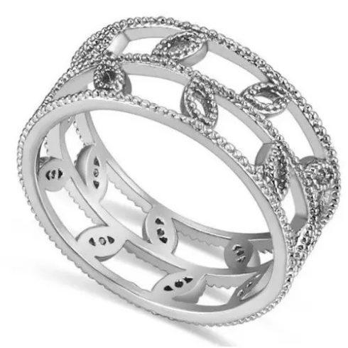 Levél mintás cirkónia gyűrű, Ródium, 6,5