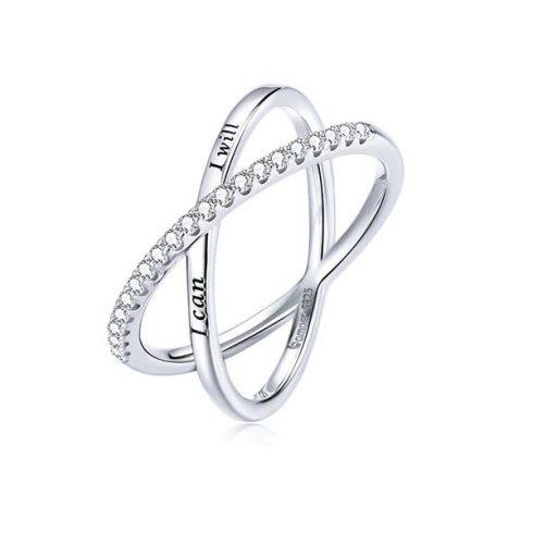 Női gyűrű, ezüst, dupla, 7-es méret