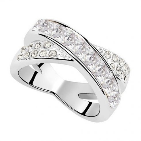 Keresztezett gyűrű, Kristály, Swarovski köves, 8,5