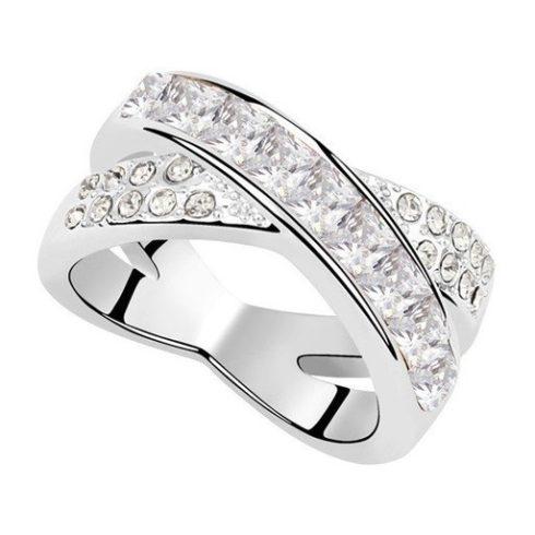 Keresztezett gyűrű, Kristály, Swarovski köves, 7,5