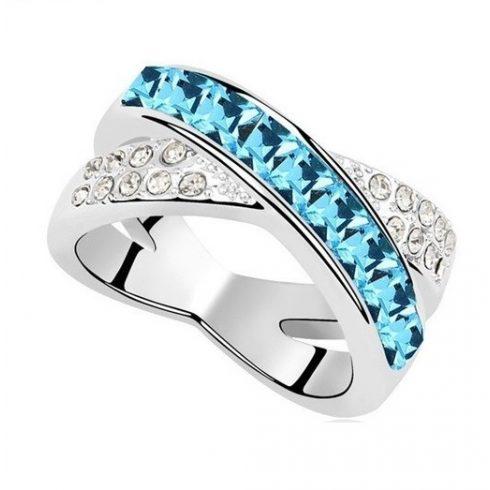 Keresztezett gyűrű, Aquamarine, Swarovski köves, 6,5