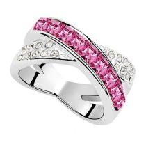 Keresztezett gyűrű, Rózsaszín, Swarovski köves, 6,5