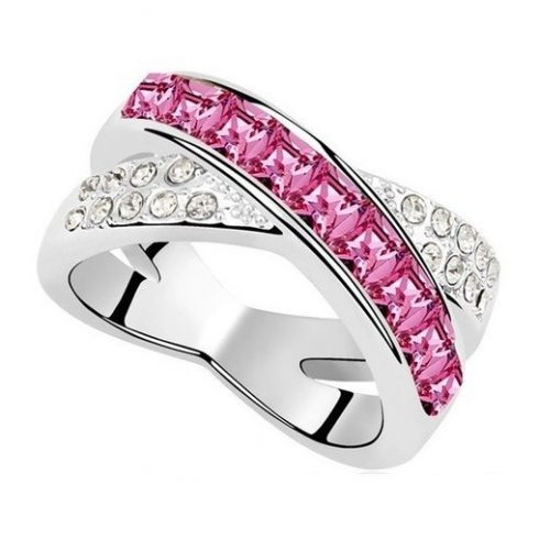 Keresztezett gyűrű, Rózsaszín, Swarovski köves, 5,5