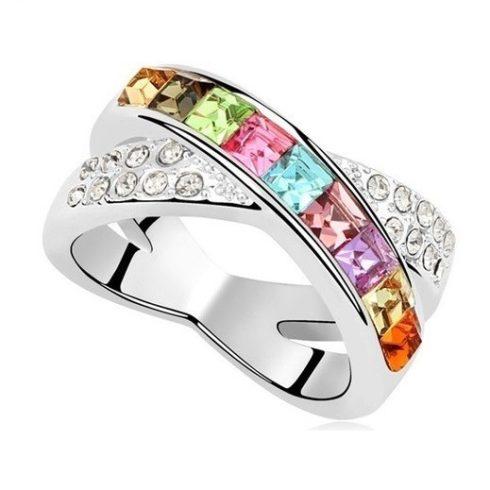 Keresztezett gyűrű, Multicolor, Swarovski köves, 6,5
