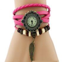 Angyalszárnyas bőr női karkötő-óra, pink