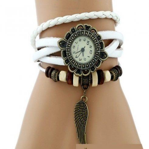Angyalszárnyas bőr női karkötő-óra, fehér