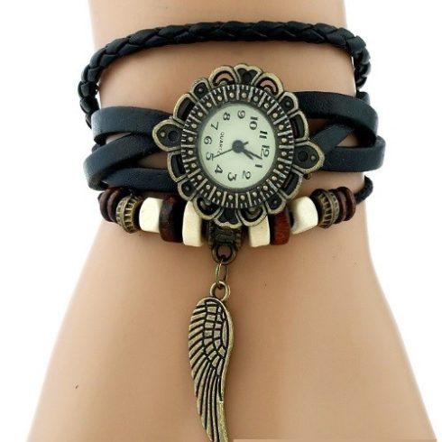 Angyalszárnyas bőr női karkötő-óra, fekete