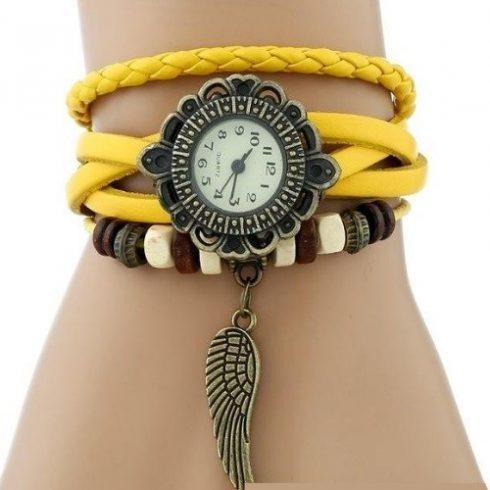 Angyalszárnyas bőr női karkötő-óra, sárga