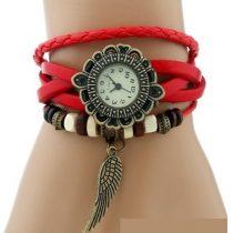 Angyalszárnyas bőr női karkötő-óra, piros