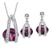 Köves ékszer szett, Austria Crystal, cyclamen, Swarovski köves
