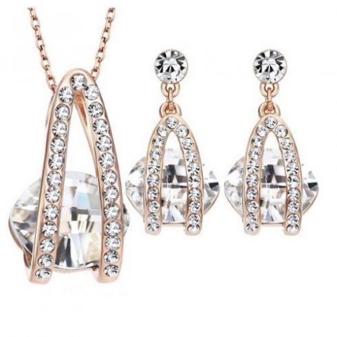 Köves ékszer szett, Austria Crystal, Fehér, Swarovski köves