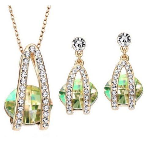 Köves ékszer szett, Austria Crystal, Zöld, Swarovski köves