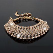 Aranyazott karkötő kristályokkal, arany színben 17+6 cm
