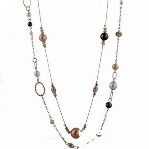 Gyöngyökkel díszített, hosszú nyaklánc, ezüst színben