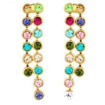 Hosszú, köves fülbevaló, Multicolor, Swarovski köves