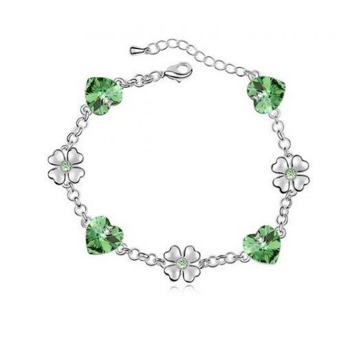 Szív és lóhere karkötő, Peridot zöld, Swarovski köves