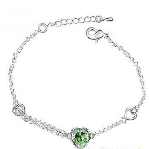Szív medálos karkötő, Peridot zöld, Swarovski köves