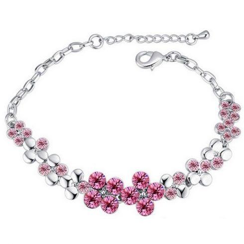 Virágos karkötő, Rózsaszín