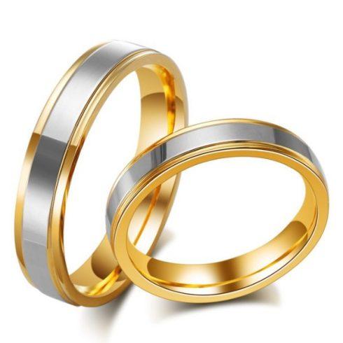 Férfi karikagyűrű, nemesacél, aranyszínű, 12-es méret