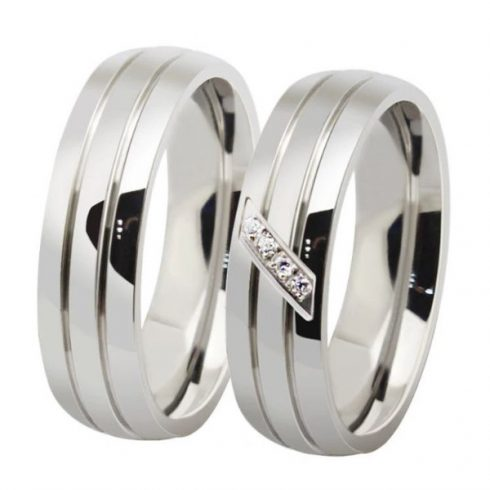 Női karikagyűrű, nemesacél, ezüstszínű, 9-es méret
