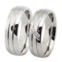 Női jegygyűrű, karikagyűrű, rozsdamentes acél, ezüstszínű, 7-es méret