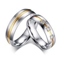Női jegygyűrű, karikagyűrű, rozsdamentes acél, ezüstszínű, 9-es méret