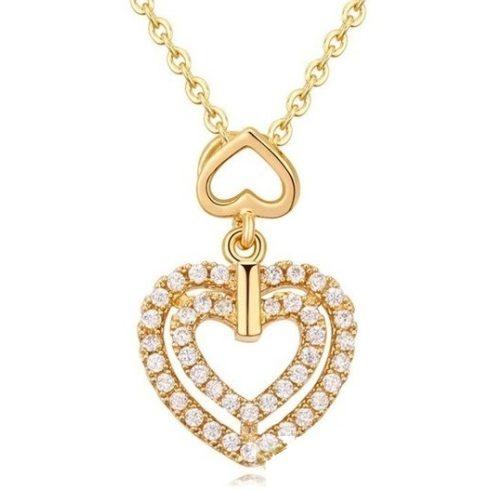 Dupla szív alakú nyaklánc, Pezsgő arany