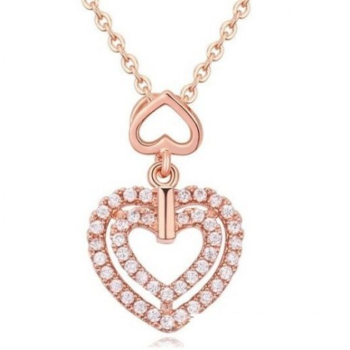 Dupla szív alakú nyaklánc, Rose Gold