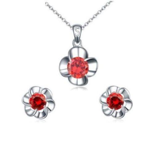 Virág alakú ékszer szett, Piros