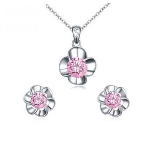 Virág alakú ékszer szett, Pink