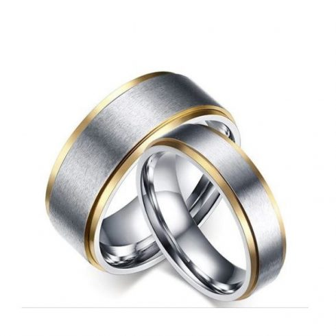 Férfi karikagyűrű, nemesacél, ezüstszínű, 9-es méret